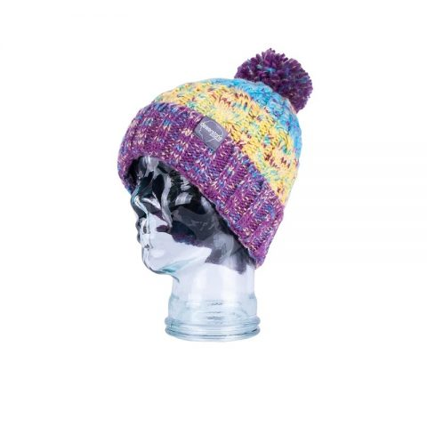Dewerstone Chunky Knit Beanie Purple/Yellow from Northeast Kayaks