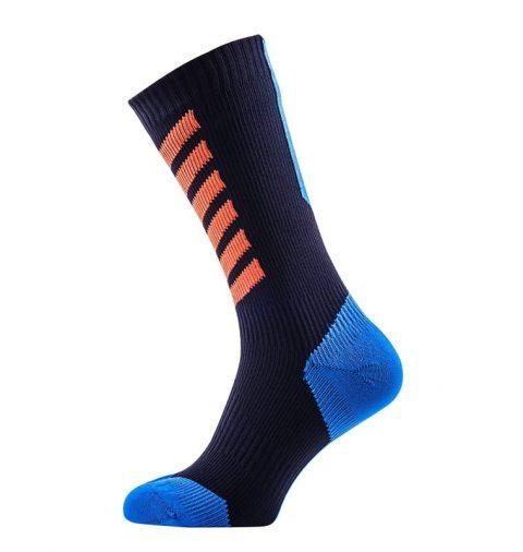 SealSkinz MTB Mid Mid Waterproof Socks with Hydrostop Black/Blue/Orange from Northeast Kayaks