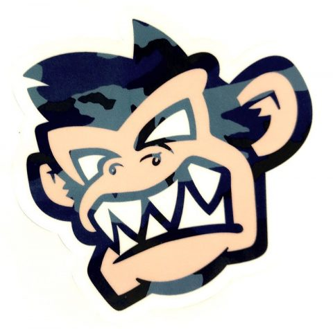 Kayak Monkey Sticker Blue Camo - Face from Northeast Kayaks