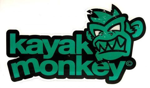 Kayak Monkey Logo Sticker Green Cyan from Northeast Kayaks