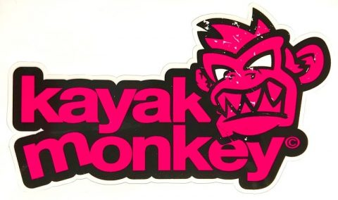 Kayak Monkey Logo Sticker Pink from Northeast Kayaks