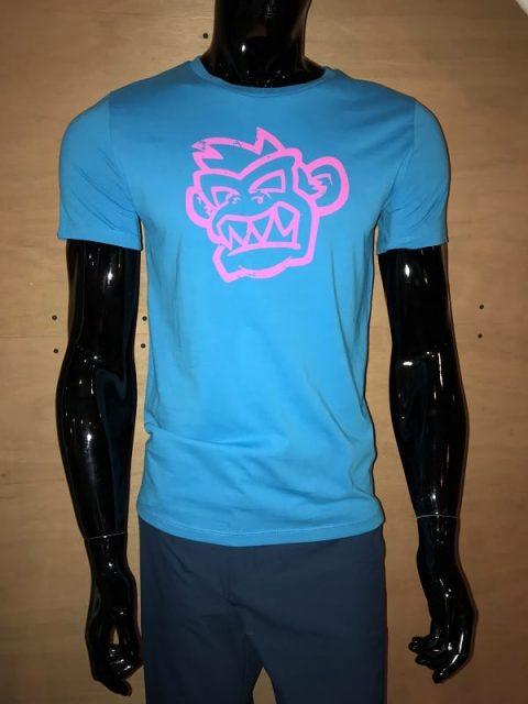 Kayak Monkey T-shirt Turquoise/Pink from Northeast Kayaks