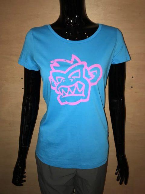 Kayak Monkey T-shirt Womans Turquoise/Pink from Northeast Kayaks